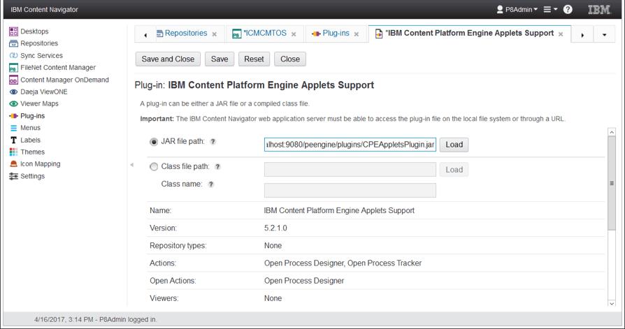 register CPEAppletsPlugin content navigator