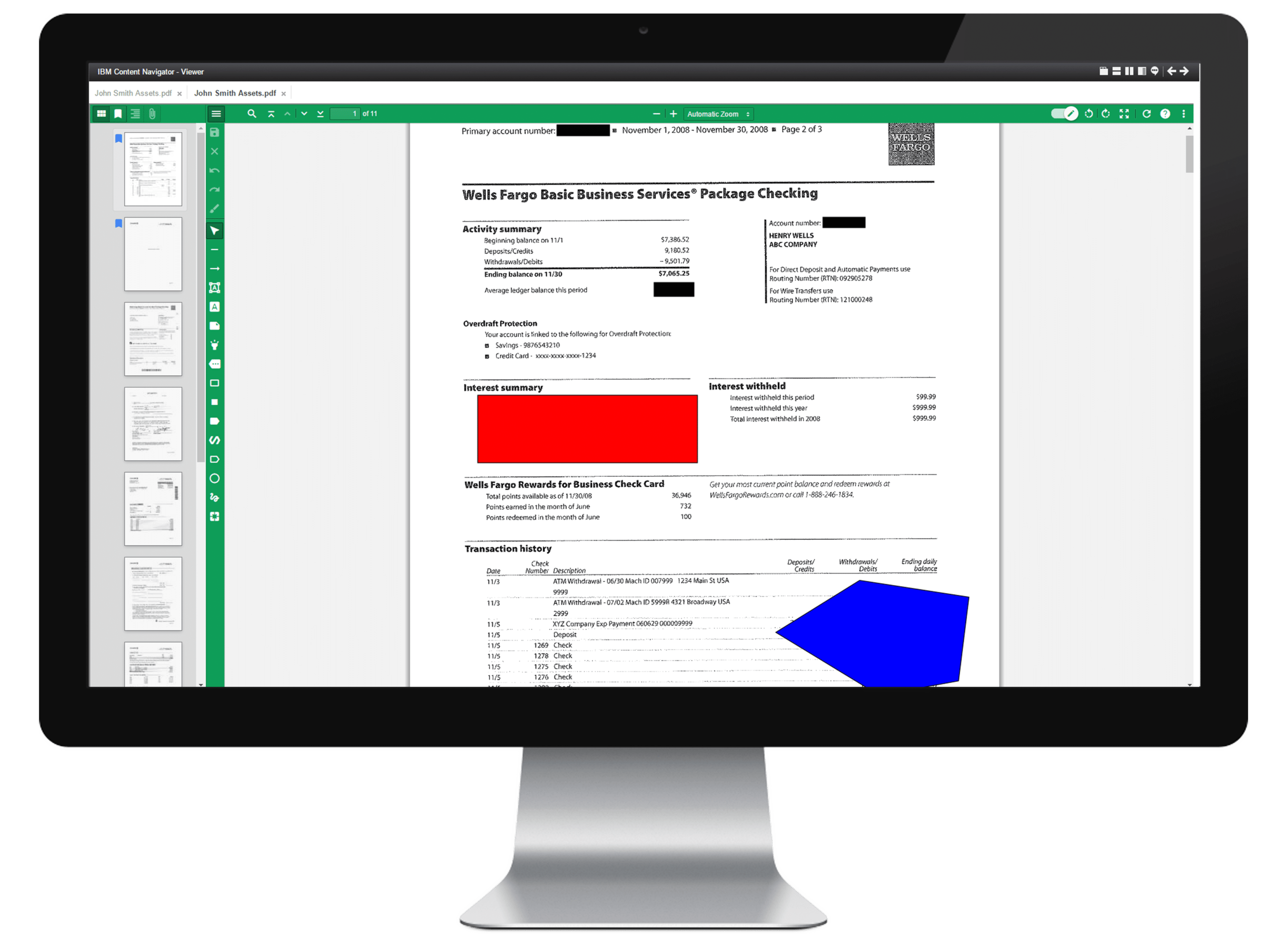 Role based redactions for IBM