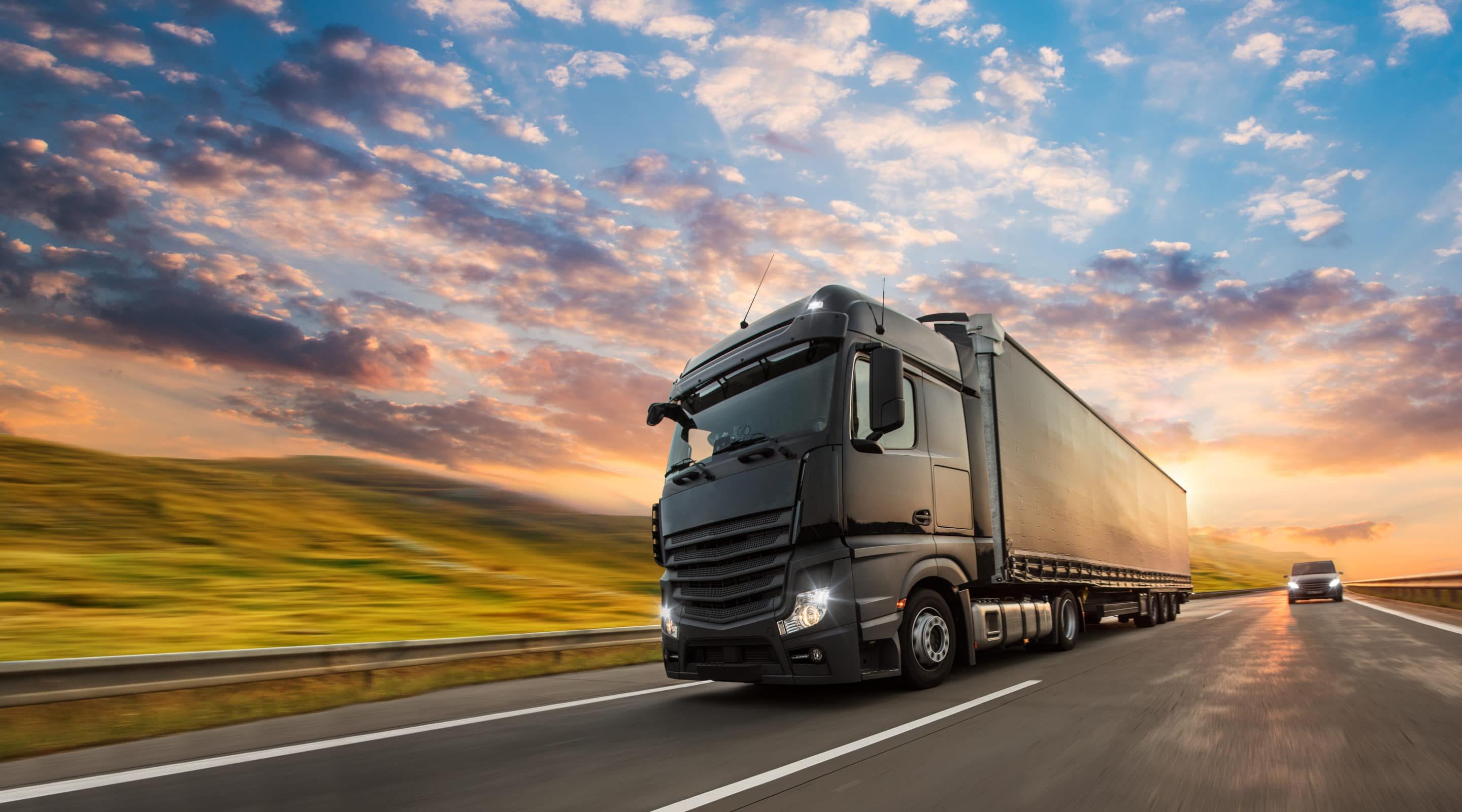 tractor trailer driving on highway image